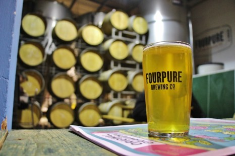 Pint of Fourpure Beer at taproom, Bermondsey Beer Mile, London Craft Beer Crawl